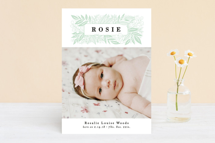 """""""Foliage Name Frame"""" - Birth Announcements in Peony by Alethea and Ruth."""