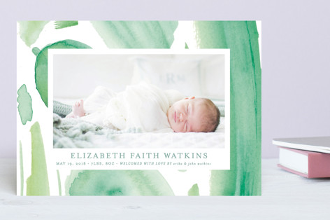 Pretty Paint Splashed Birth Announcements