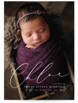 This is a white birth announcement by Lea Delaveris called Just Lovely with standard printing on signature in standard.