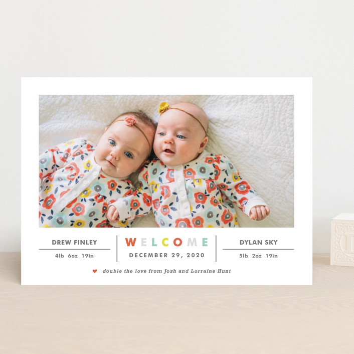 """""""Double the Love"""" - Modern Birth Announcements in Apple by Carolyn MacLaren."""