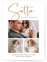 This is a brown birth announcement by Jessica Williams called Sutton with standard printing on smooth signature in standard.