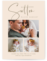This is a pink birth announcement by Jessica Williams called Sutton with standard printing on smooth signature in standard.