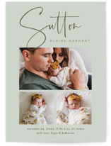 This is a green birth announcement by Jessica Williams called Sutton with standard printing on smooth signature in standard.