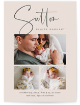 This is a beige birth announcement by Jessica Williams called Sutton with standard printing on smooth signature in standard.