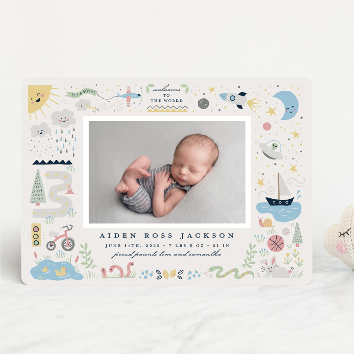 """""""Cute Boy World"""" - Whimsical & Funny Birth Announcements in Celestial by Katie Zimpel."""