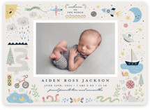 This is a blue birth announcement by Katie Zimpel called Cute Boy World with standard printing on smooth signature in standard.