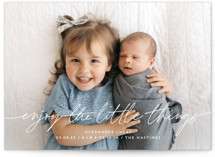 This is a grey birth announcement by Katy Shen called Enjoy The Little Things with standard printing on signature in standard.