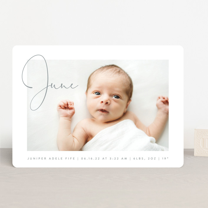 """""""Chic Introduction"""" - Modern Birth Announcements in Storm by Olivia Raufman."""