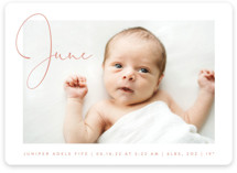 This is a pink birth announcement by Olivia Raufman called Chic Introduction with standard printing on smooth signature in standard.