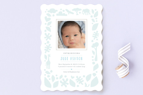 Petite Jungle Frame Birth Announcements