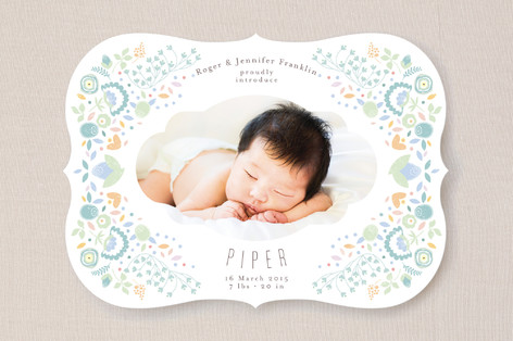 Fancy Floral Frame Birth Announcements