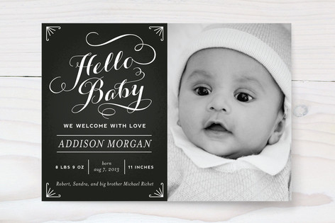 Chalkboard Greetings Birth Announcements