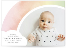 This is a pink birth announcement by Lori Wemple called Pretty Rainbow with standard printing on signature in standard.