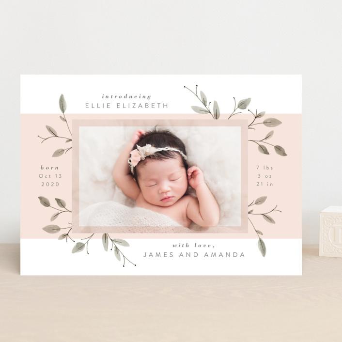 """Petite"" - Birth Announcements in Blush by JeAnna Casper."