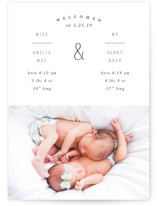 This is a white birth announcement by Baumbirdy called Welcome Stamp with standard printing on smooth signature in standard.