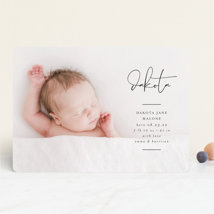 """""""Signed With Love"""" - Modern Birth Announcements in Tuxedo by Lehan Veenker."""