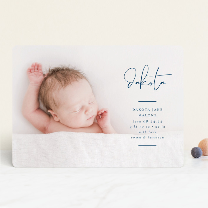 """Signed With Love"" - Modern Birth Announcements in Tuxedo by Lehan Veenker."