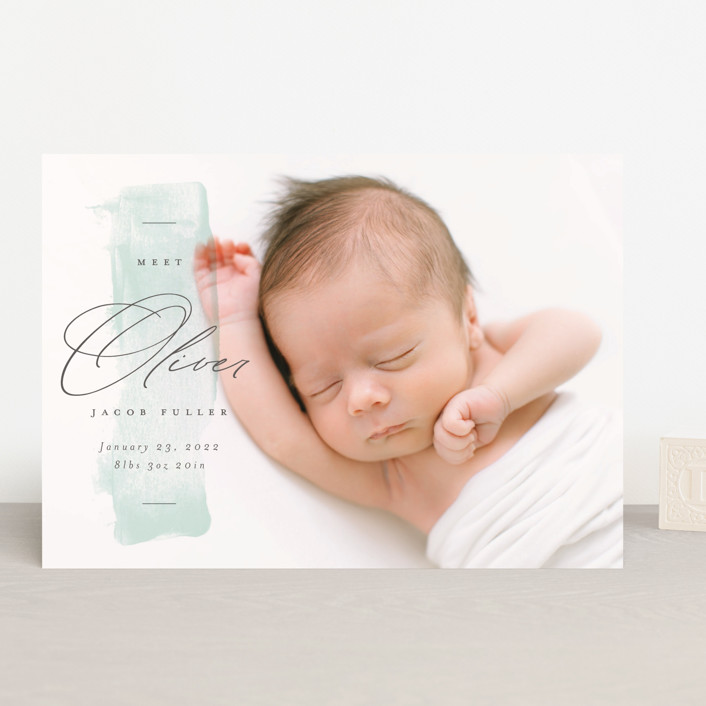 """""""Fresh Paint"""" - Birth Announcements in Aqua by Michelle Taylor."""