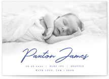 This is a blue birth announcement by AK Graphics called Dapper with standard printing on smooth signature in standard.