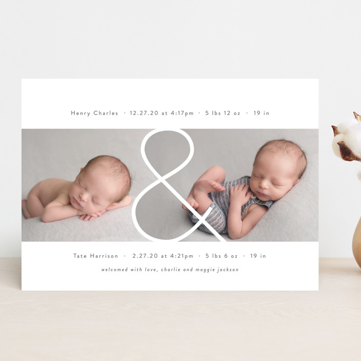 """""""Twin & Twin"""" - Birth Announcements in Snow by Lauren Chism."""