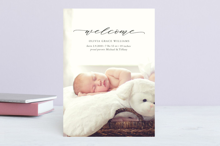 """""""Elegant Name"""" - Birth Announcements in Ebony by Emily Betts."""
