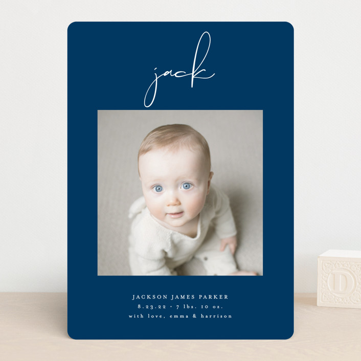 """""""Just Me"""" - Modern Birth Announcements in Midnight by Lehan Veenker."""