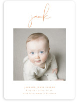 This is a orange birth announcement by Lehan Veenker called Just Me with standard printing on smooth signature in standard.