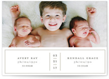 This is a beige birth announcement by Cheer Up Press called double delight with standard printing on smooth signature in standard.