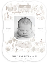 This is a brown birth announcement by Bonnie Davis called In the Park with standard printing on signature in standard.