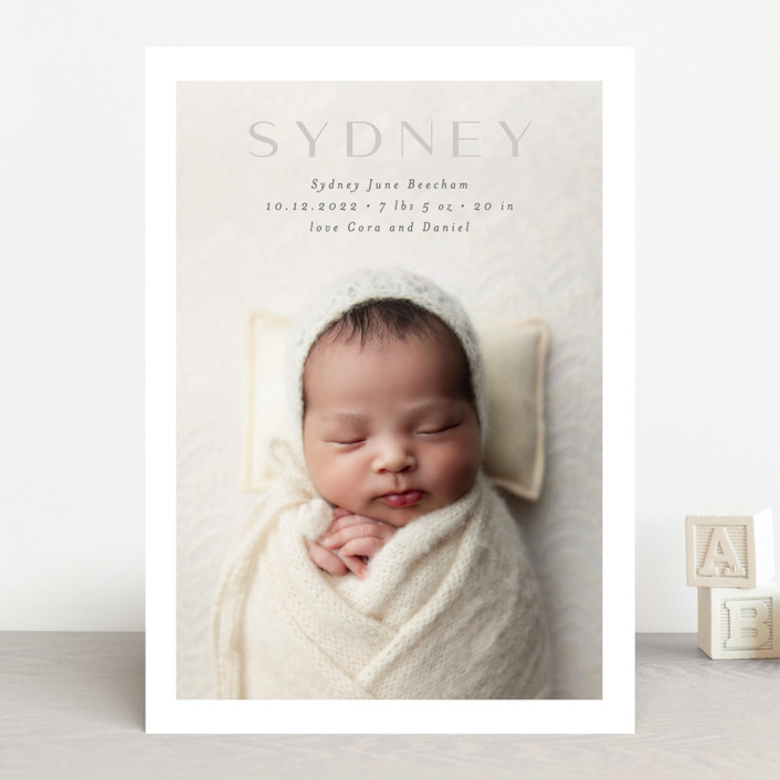 """serene debut"" - Birth Announcements in Cloud by Rebecca Durflinger."