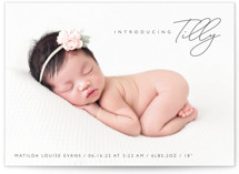 This is a brown birth announcement by Olivia Raufman called Nickname Intro with standard printing on signature in standard.