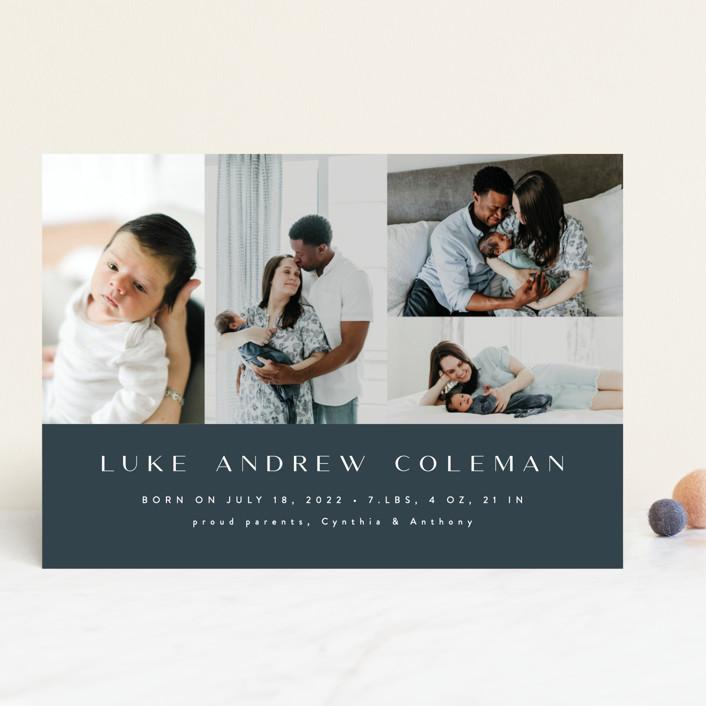 """Modern Album"" - Modern Birth Announcements in Grayish Blue by Ana Sharpe."