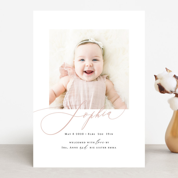"""Happy Baby"" - Birth Announcements in Peach Bud by Benita Crandall."