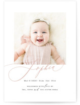 This is a pink birth announcement by Benita Crandall called Happy Baby with standard printing on smooth signature in standard.