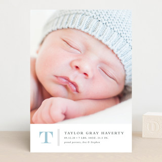 Stately monogram Birth Announcements