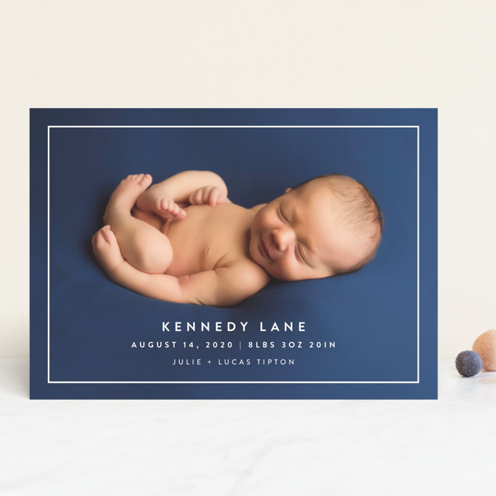"""""""Modern Frame"""" - Birth Announcements in Cloud by Jessica Maslyn."""