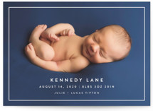 This is a white birth announcement by Jessica Maslyn called Modern Frame with standard printing on smooth signature in standard.