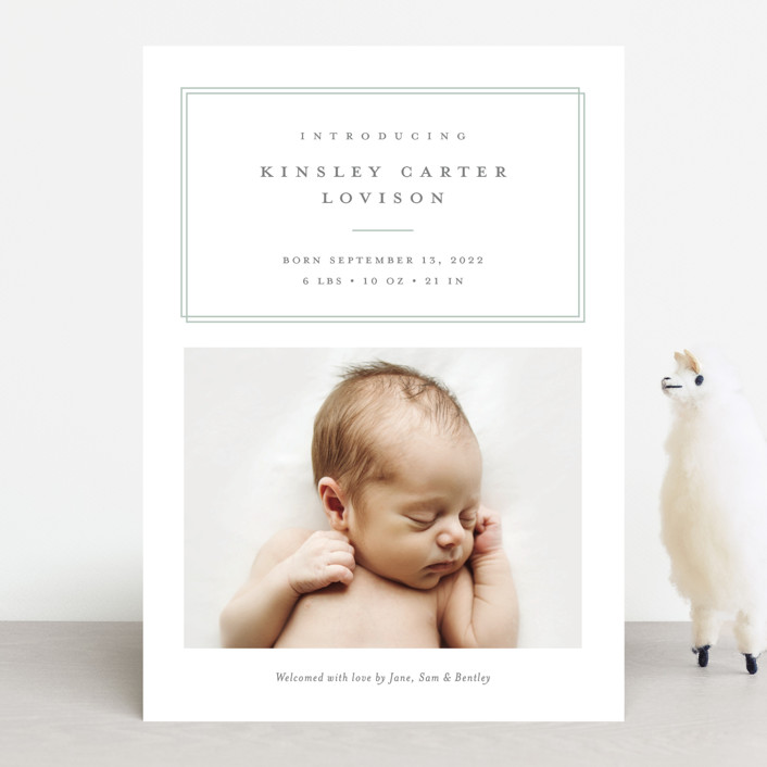 """""""Name Plate"""" - Preppy Birth Announcements in Melon by Stacey Meacham."""