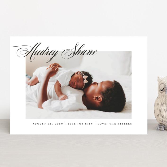 """Elegantly"" - Birth Announcements in Slate by Carolyn MacLaren."