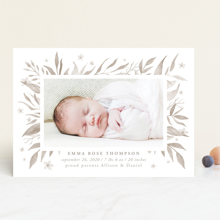 """""""watercolor botany"""" - Birth Announcements in Mint by Anastasia Makarova."""