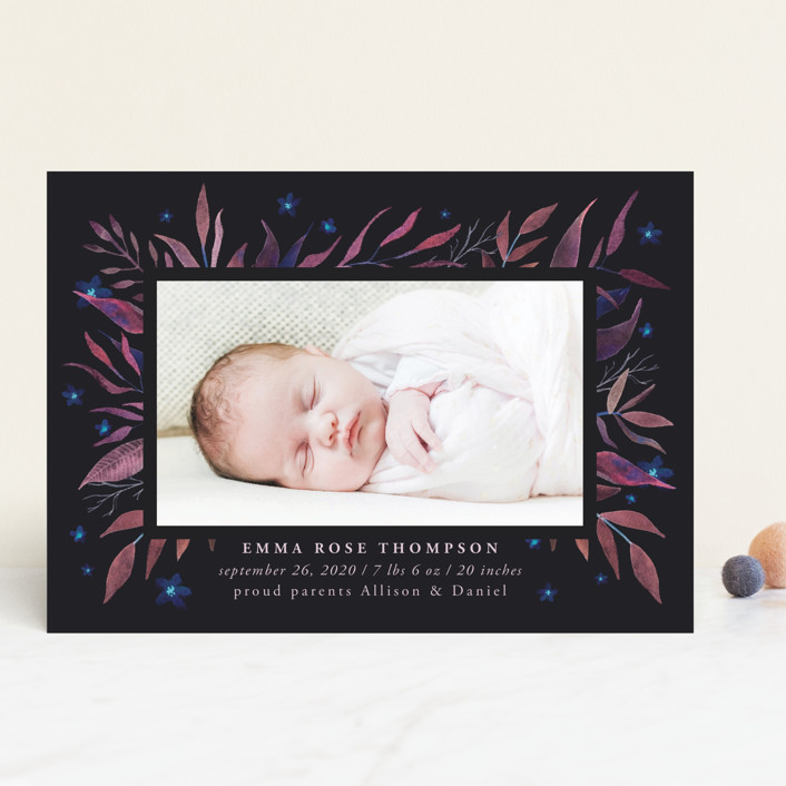 """watercolor botany"" - Birth Announcements in Mint by Anastasia Makarova."