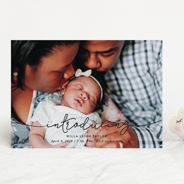 """""""Introducing Baby Script"""" - Modern Birth Announcements in Cloud by Christine Taylor."""