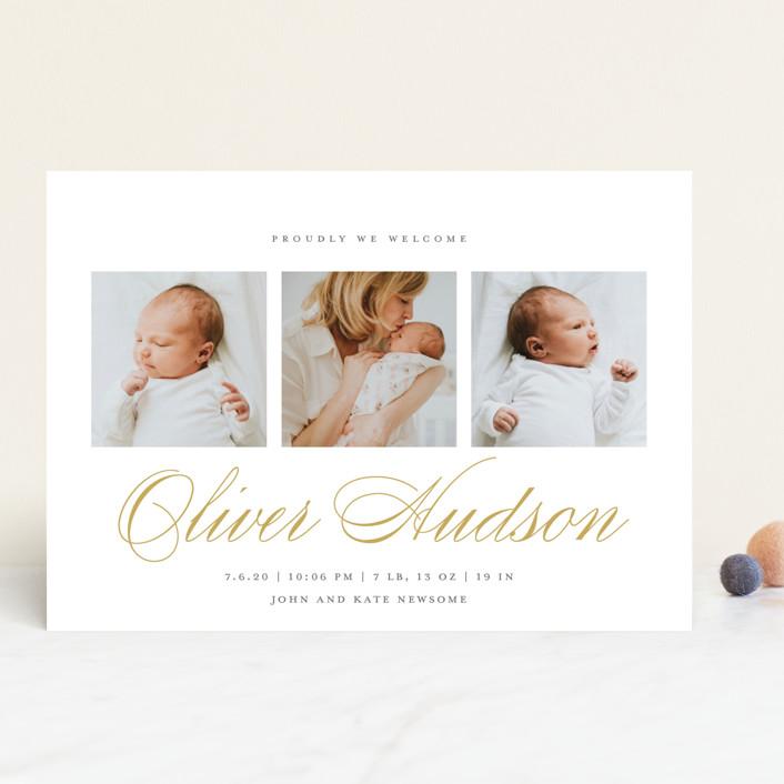 """Elegant Trio"" - Birth Announcements in Golden by Paper Dahlia."