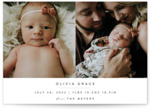 This is a grey birth announcement by Roopali called Serene with standard printing on signature in standard.