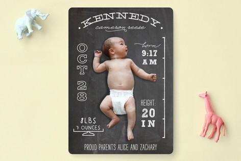 Chalkboard Stats Birth Announcements by leslie ham – Picture Birth Announcements