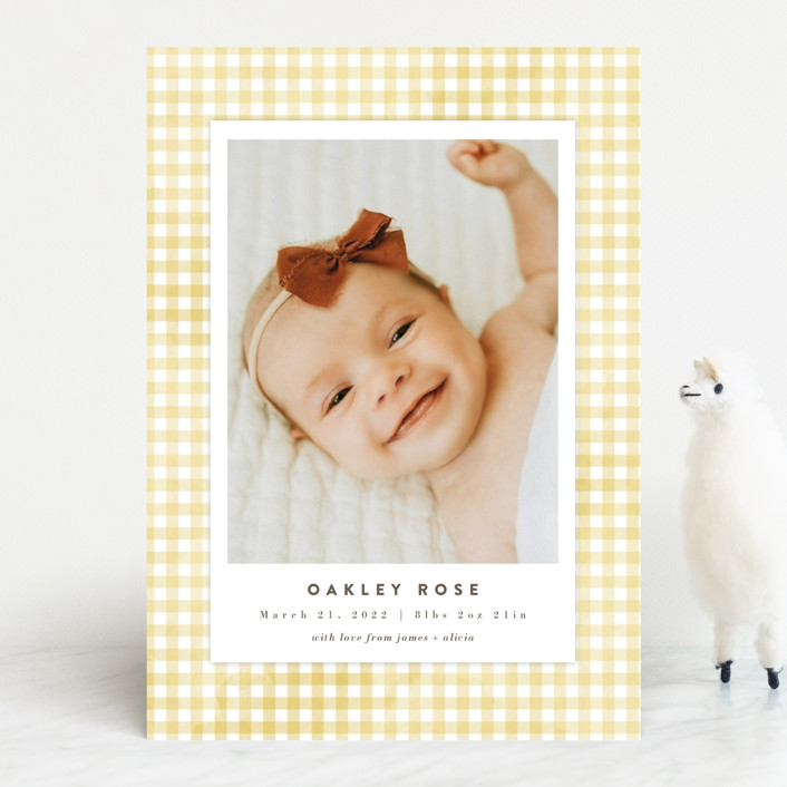"""""""Gingham"""" - Preppy Birth Announcements in Marigold by Jessie Steury."""