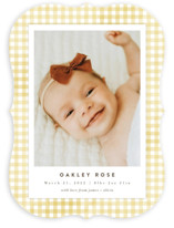 This is a yellow birth announcement by Jessie Steury called Gingham with standard printing on signature in standard.