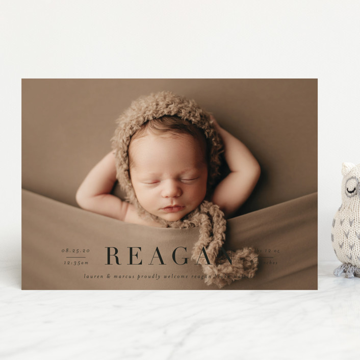 """""""Bold Classic"""" - Birth Announcements in Cotton by Shirley Lin Schneider."""
