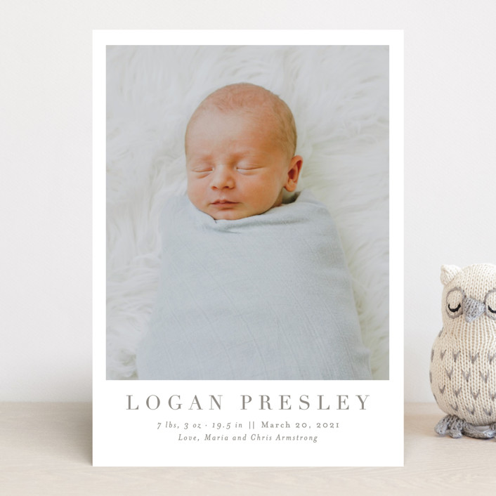 """Menil"" - Preppy Birth Announcements in Fawn by Toast & Laurel."