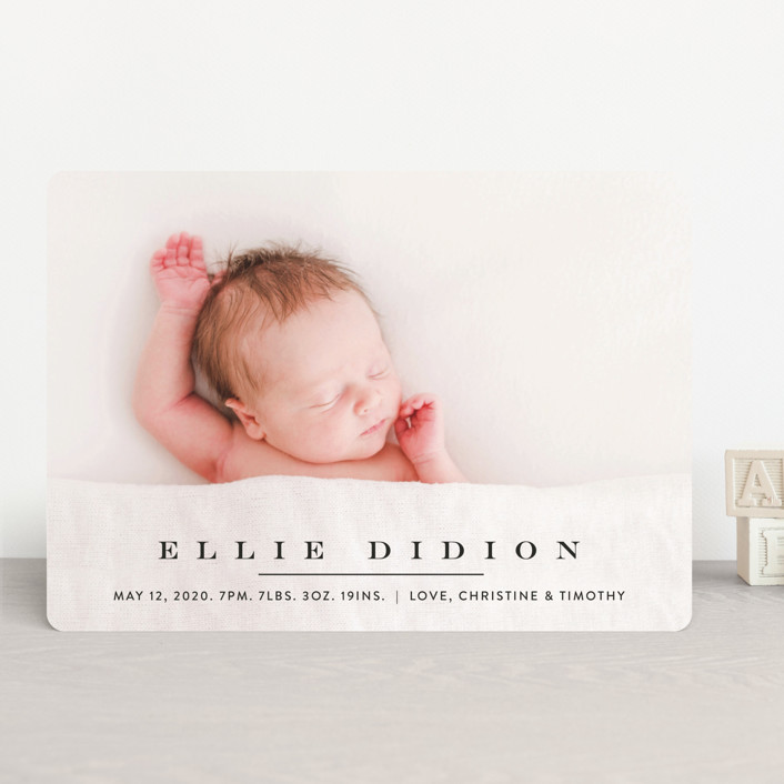 """Classic & Serene"" - Birth Announcements in Slate by Jennifer Lew."